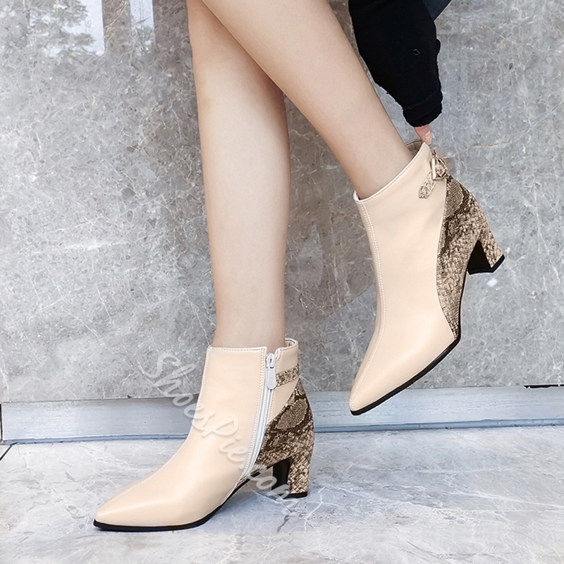Shoespie Pointed Toe Side Zipper Color Block Casual Boots