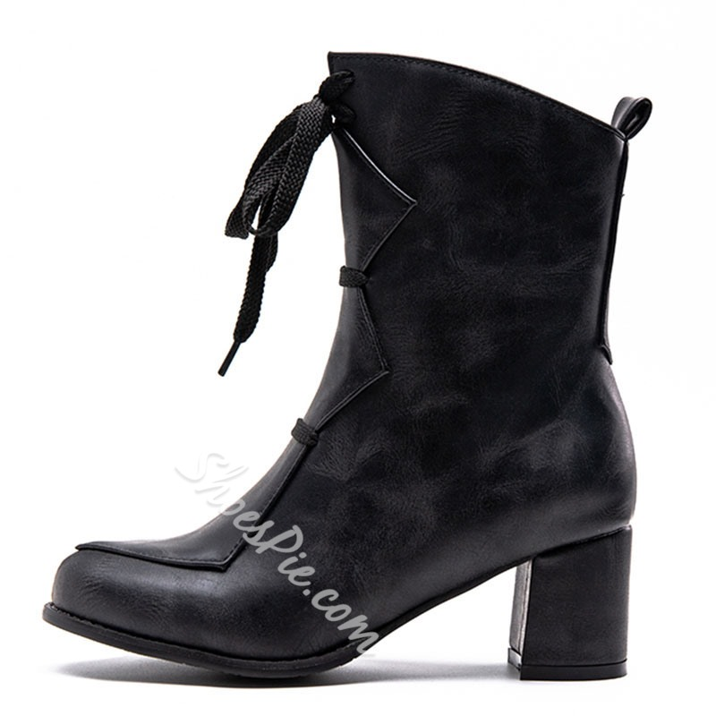 Shoespie Zipper Chunky Heel Casual Ankle Boots