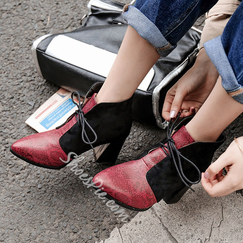 Shoespie Stylish Lace-Up Front Color Block Chunky Heel Serpentine Boots