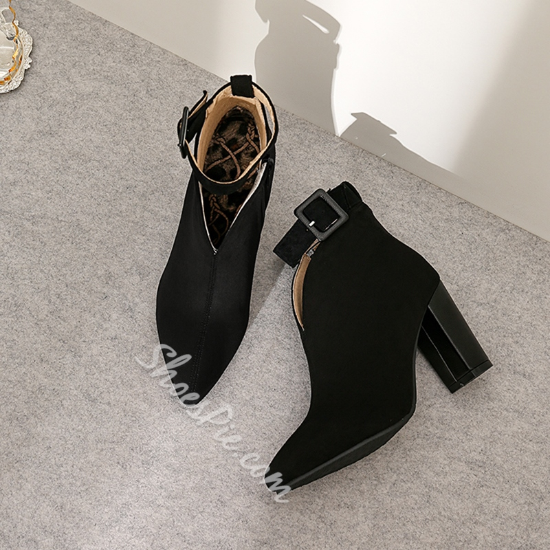 Shoespie Stylish Side Zipper Plain Pointed Toe Buckle Boots