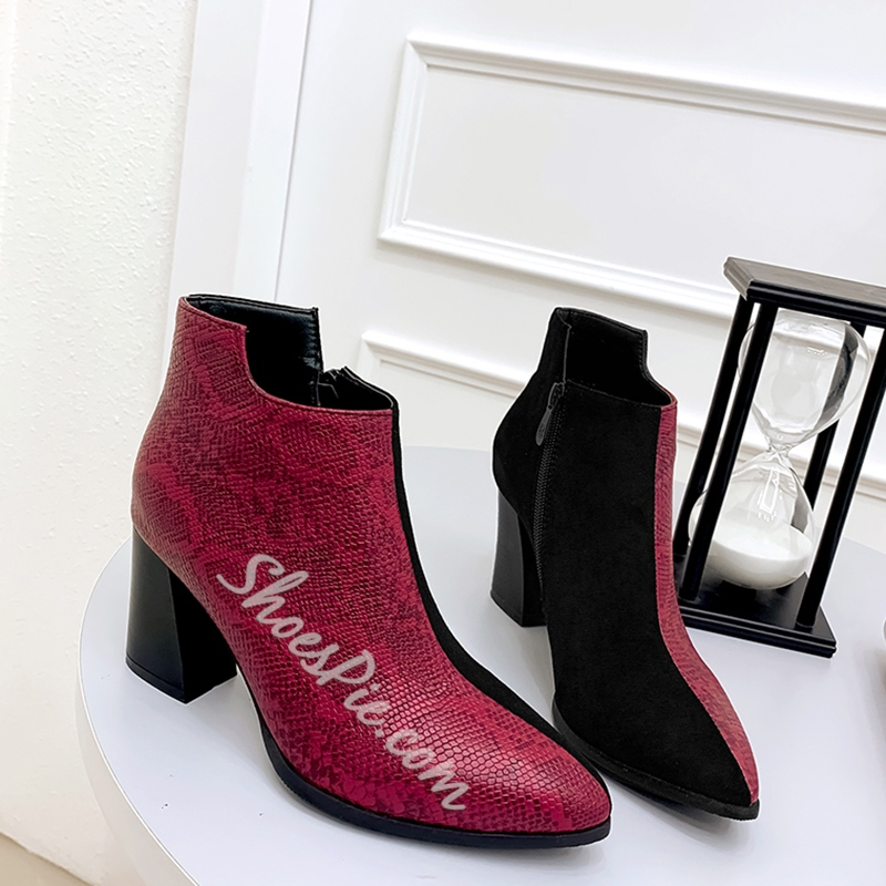 Shoespie Stylish Side Zipper Chunky Heel Color Block Zipper Boots