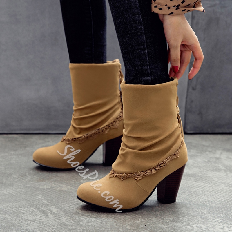Shoespie Chunky Heel Lace-Up Short Floss Boots