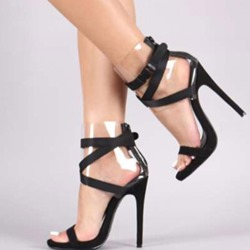 Shoespie Stiletto Heel Clear Buckle Sandals