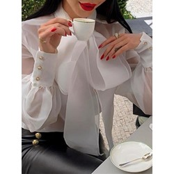 Plain Lantern Sleeve Bowknot Long Sleeve Women's Blouse