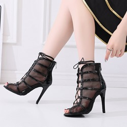 Shoespie Mesh Stiletto Heel Peep Toe Zipper Ankle Boots