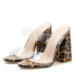 Shoespie Trendy Leopard Chunky Heel Slip-On Slippers