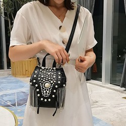Shoespie Tassel Plain PU Crossbody Bags
