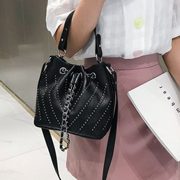 Shoespie Rivet Plain PU Barrel-Shaped Crossbody Bags