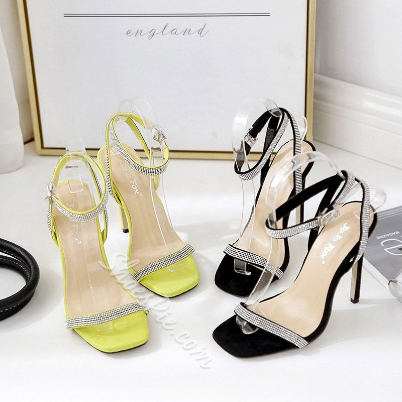 Shoespie Sexy Buckle Stiletto Heel Ankle Strap Color Block Sandals
