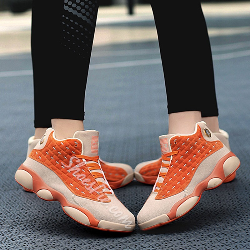 Shoespie Stylish Round Toe High-Cut Upper Lace-Up Color Block Sneakers