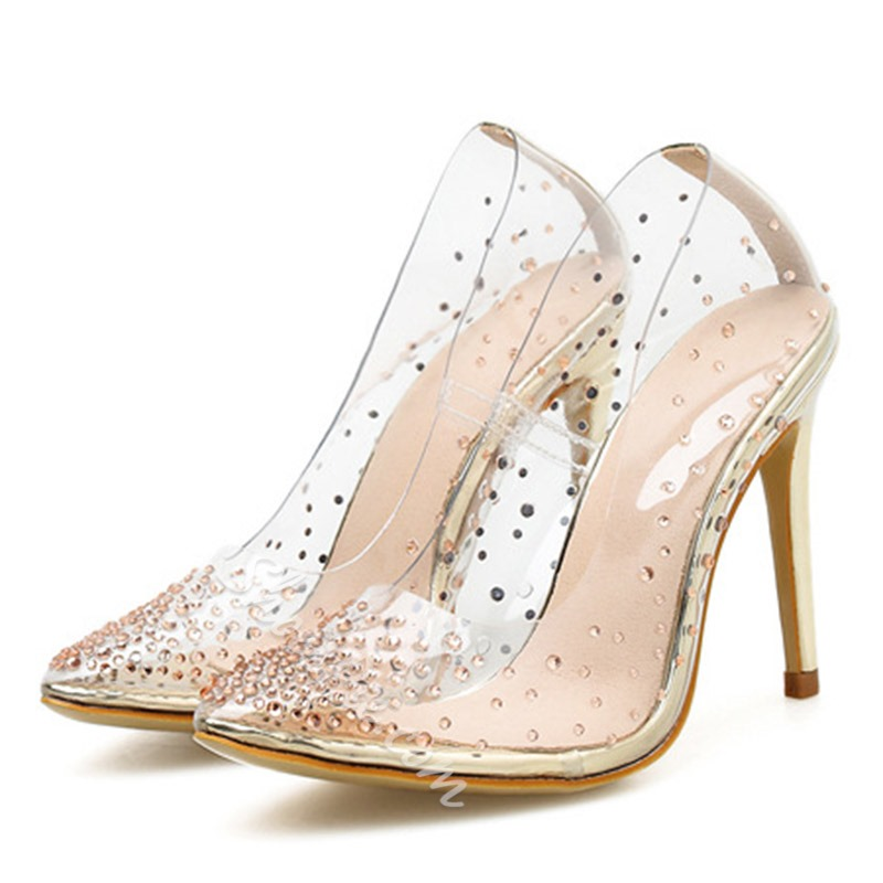 Shoespie Sexy Rhinestone Clear Stiletto Heel Pumps