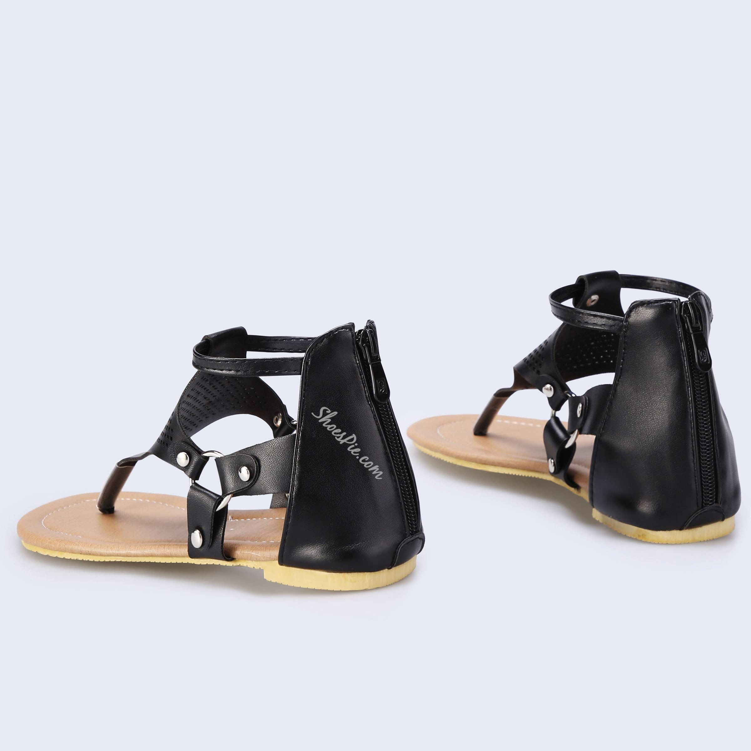 Shoespie Casual Open Toe Zipper Flat Sandals