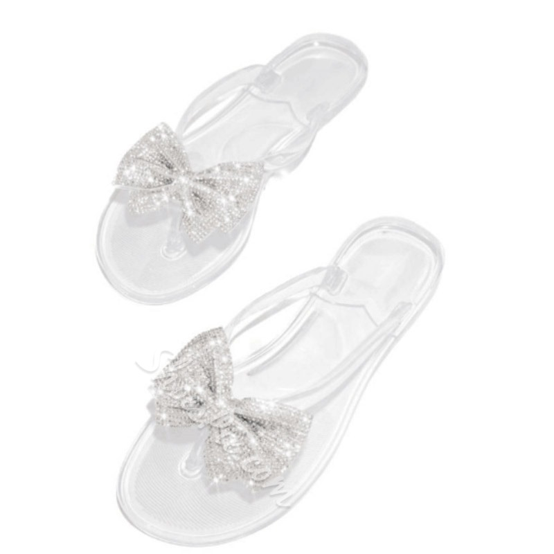 Shoespie Bow Beaded Clear Flip Flops