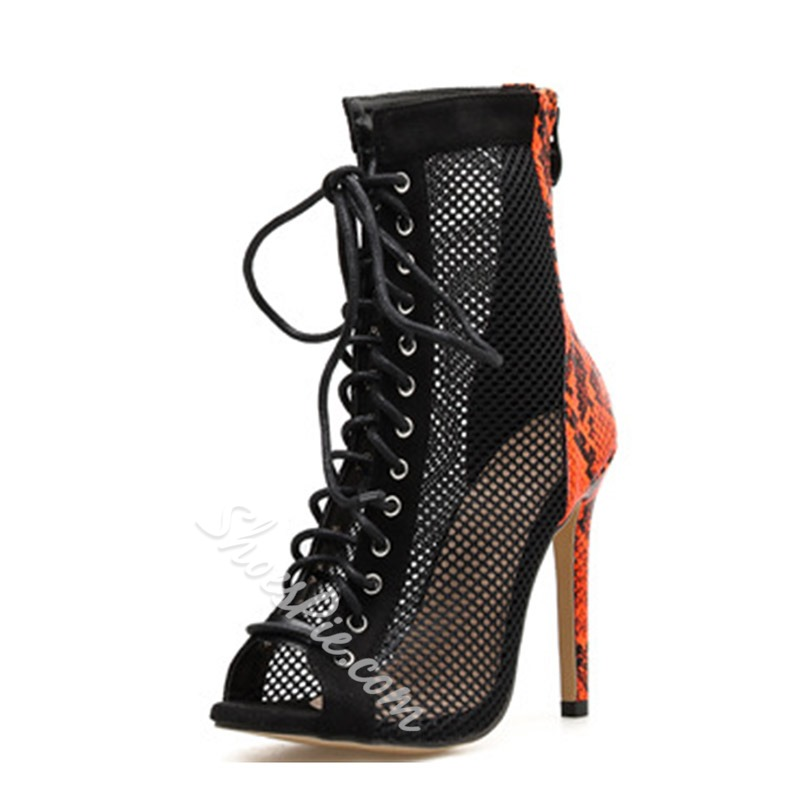 Shoespie Lace-Up Peep Toe Serpentine High Heel Boots