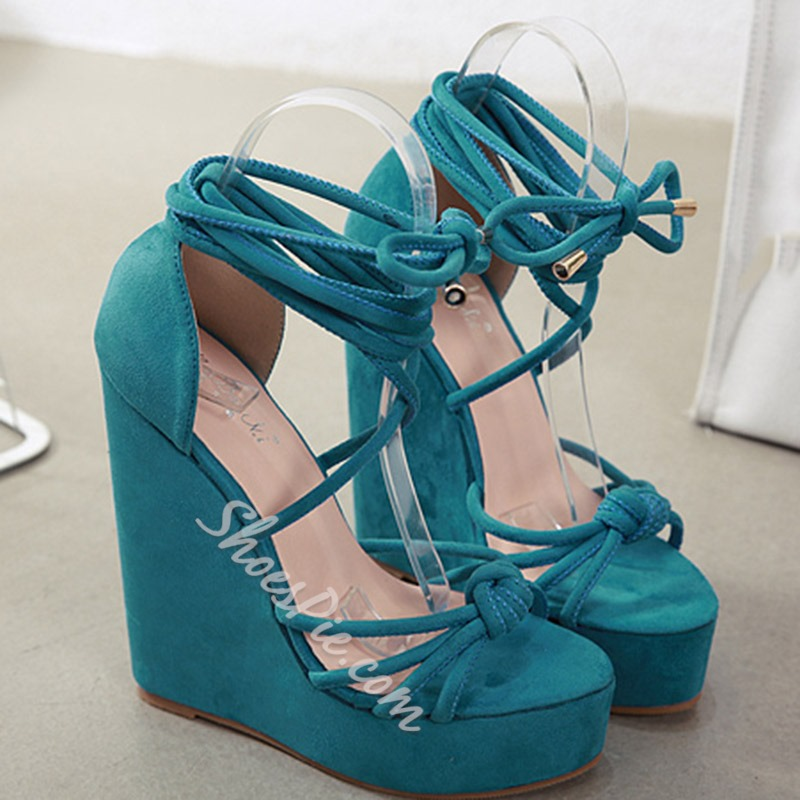 Shoespie Stylish Open Toe Lace-Up Wedge Heel Casual Sandals
