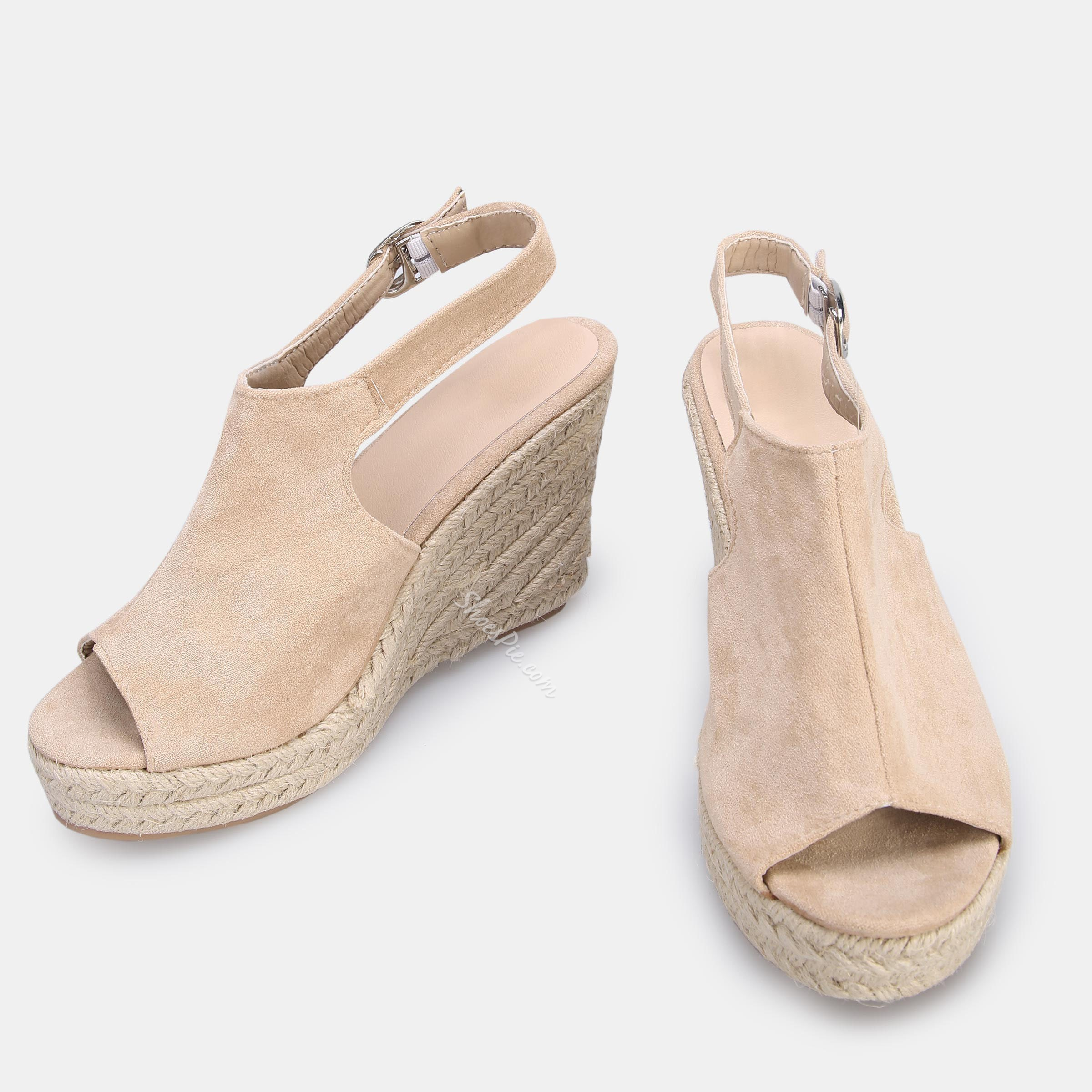 Shoespie Slingback Wedge Heel Buckle Peep Toe Sandals