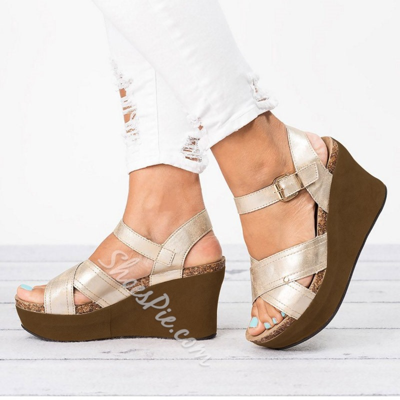 Shoespie Stylish Strappy Wedge Heel Buckle Platform Sandals