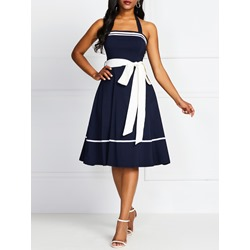 Mid-Calf Sleeveless Belt Pullover Women's Dress
