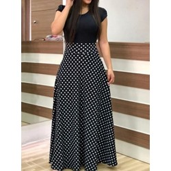 Short Sleeve Print Floor-Length Women's Maxi Dress
