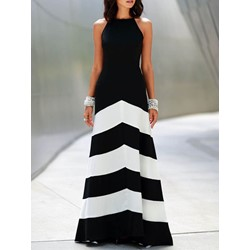 Floor-Length Patchwork Sleeveless Women's Maxi Dress
