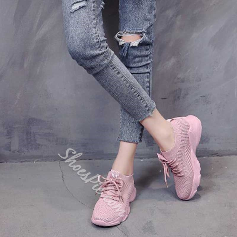 Shoespie Stylish Round Toe Lace-Up Platform Mesh Sneakers