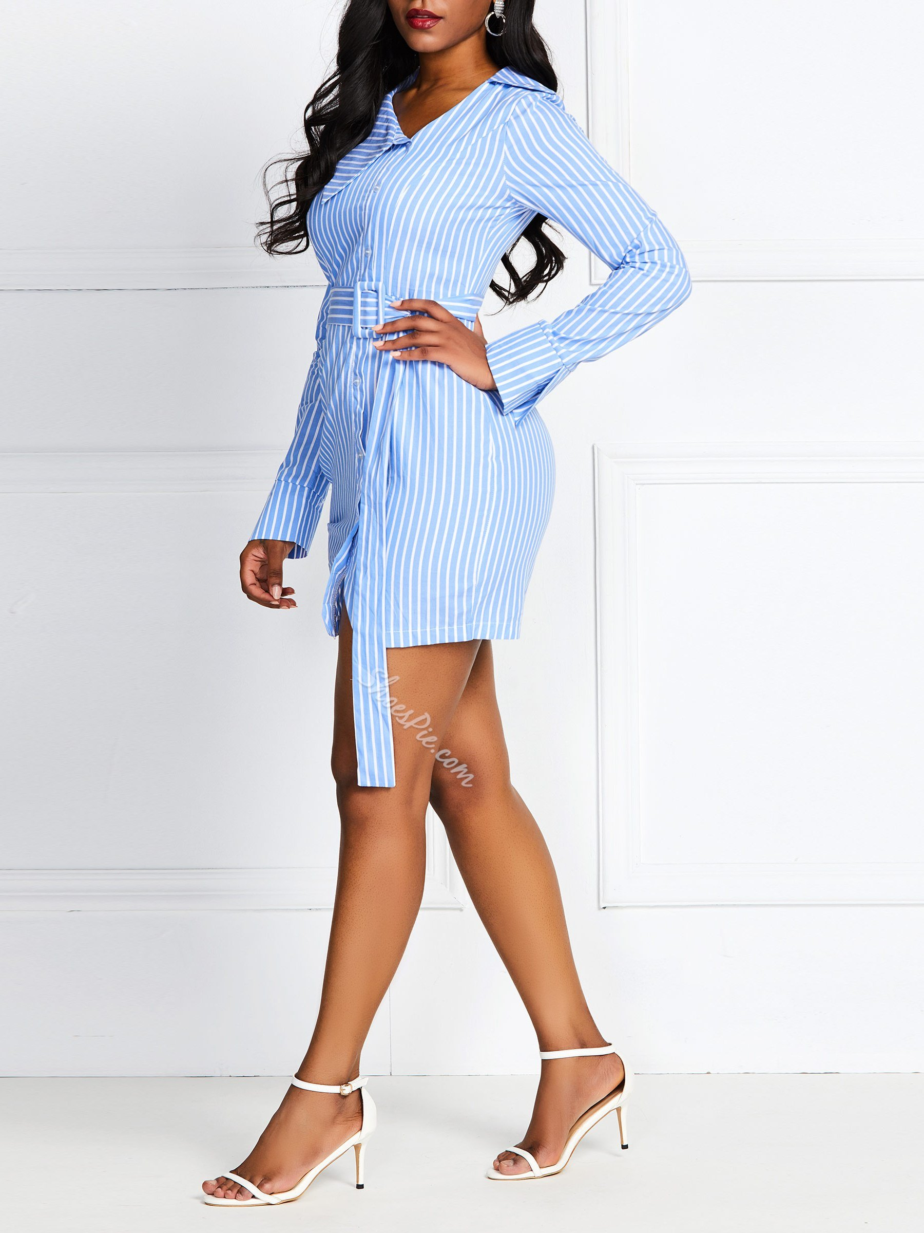 Above Knee Split Long Sleeve Stripe Women's Bodycon Dress