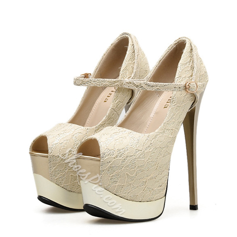 Shoespie Platform Stiletto Heel Buckle Peep Toe Pumps