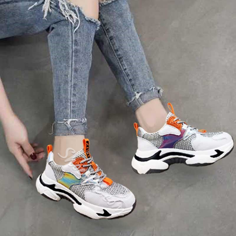 Shoespie Round Toe Lace-Up Platform Casual Sneakers