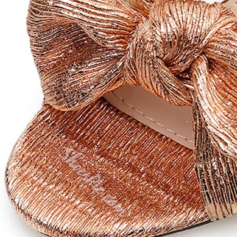 Shoespie Trendy Chunky Heel Gold Bow Slippers
