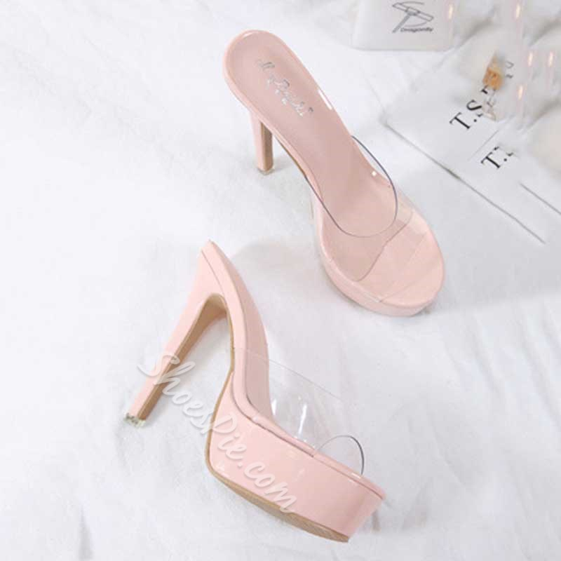 Shoespie Trendy Stiletto Heel Platform Clear Slippers