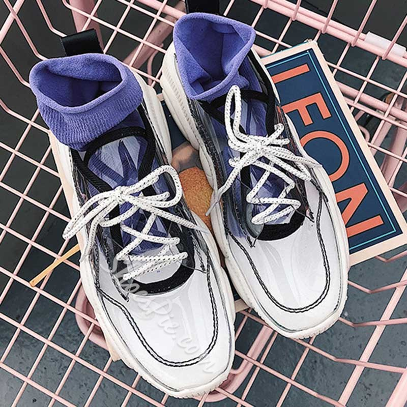 Shoespie Trendy Lace-Up Round Toe Low-Cut Upper PU Sneakers