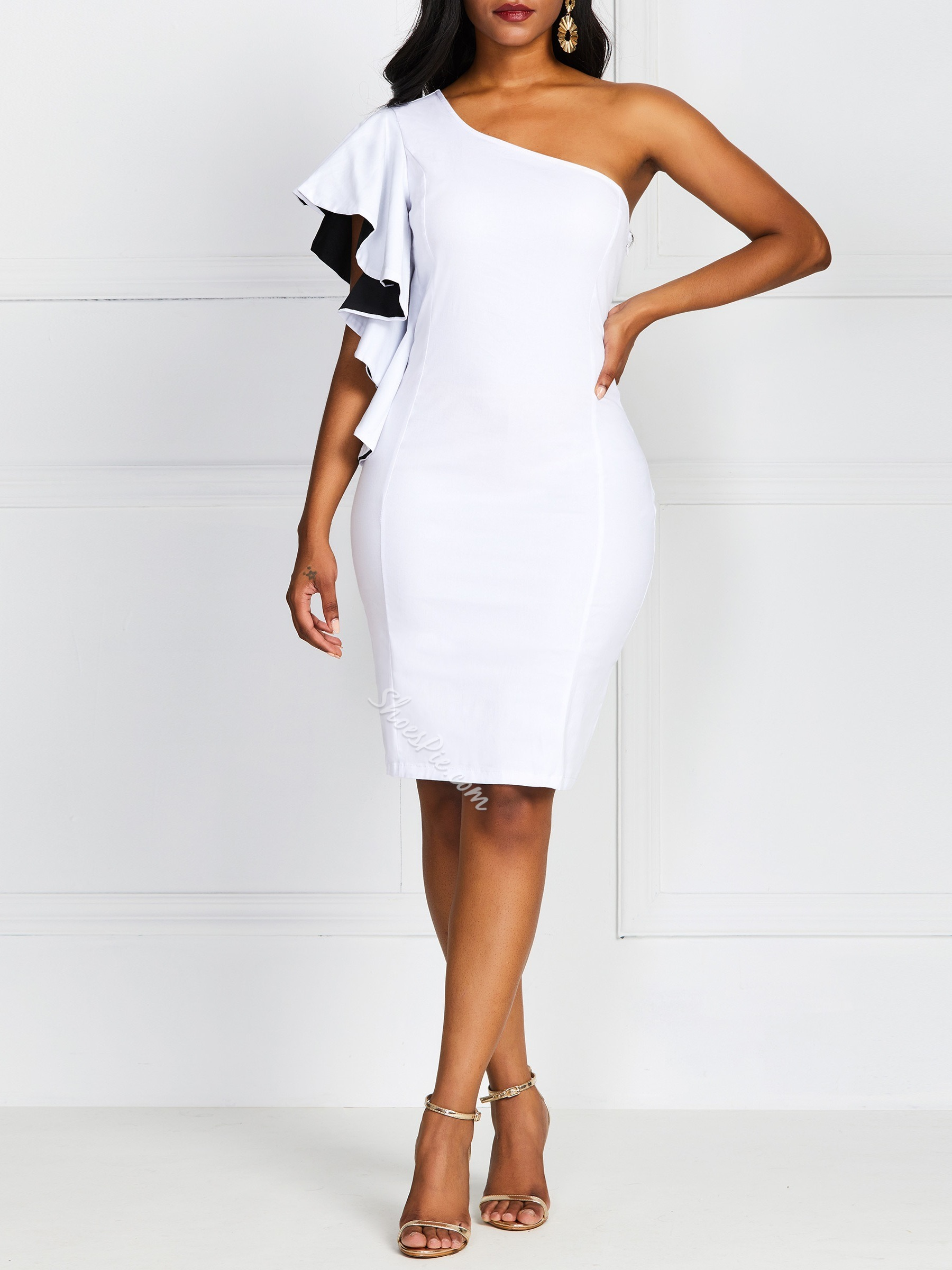 Oblique Collar Asymmetric Knee-Length Women's Bodycon Dress