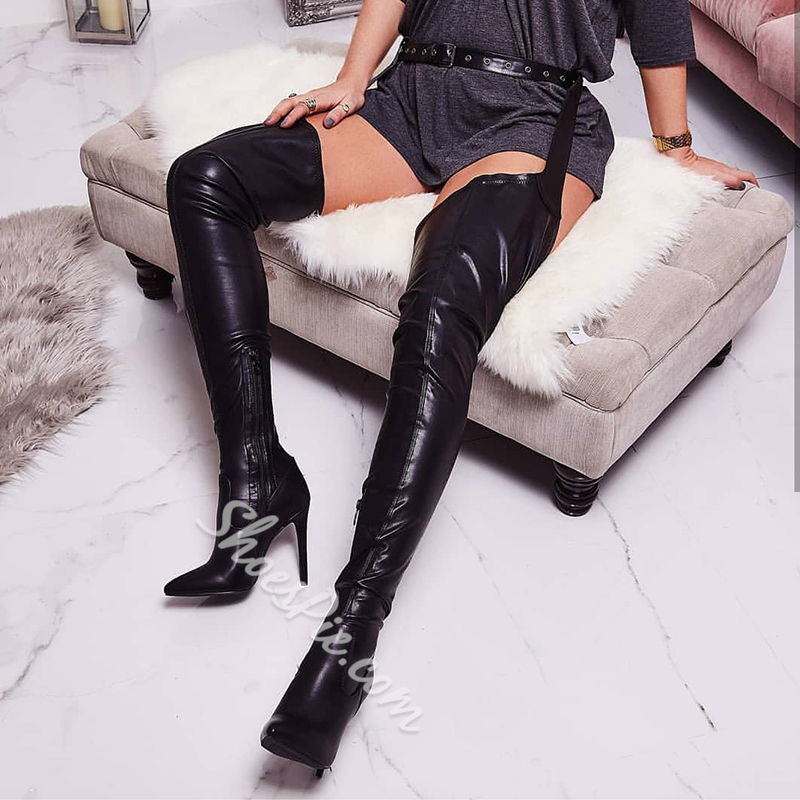 Shoespie Stylish Stiletto Heel Side Zipper Pointed Toe Thigh High Boots