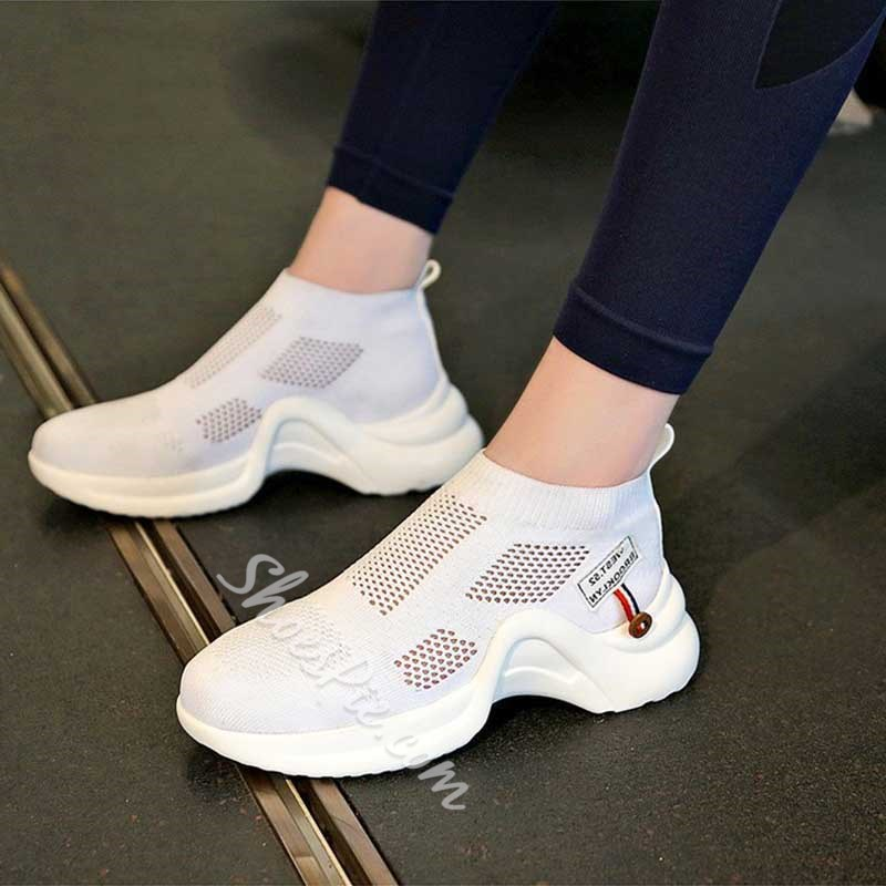 Shoespie Stylish Round Toe Platform Slip-On Casual Sneakers