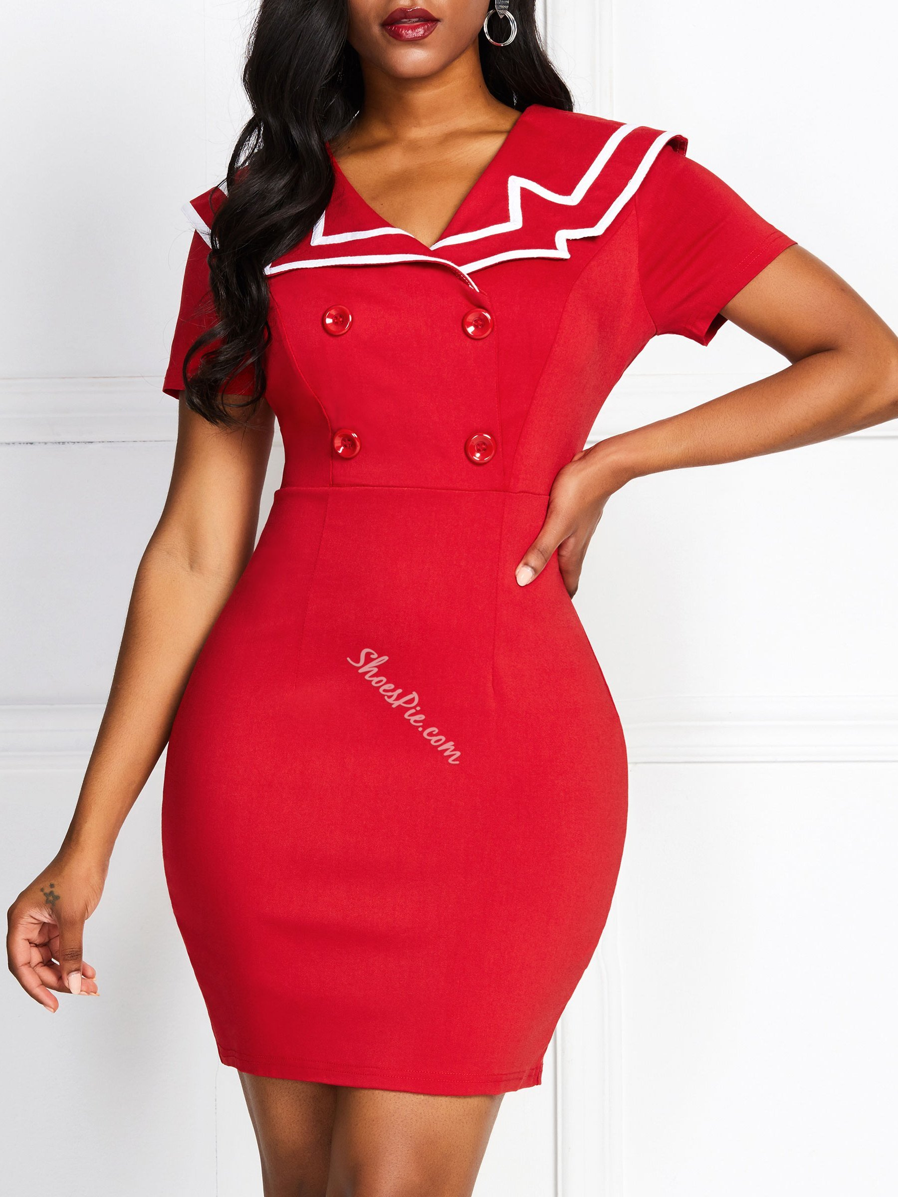 Patchwork Knee-Length Office Lady Women's Bodycon Dress