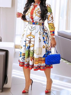 Print Three-Quarter Sleeve Lapel Geometric Women's Dress