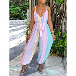 Ankle Length Casual Lace-Up High Waist Women's Jumpsuit