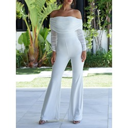 Full Length Party/Cocktail Pleated High Waist Women's Jumpsuit