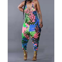 Print Color Block Fashion Baggy Pants Women's Jumpsuit