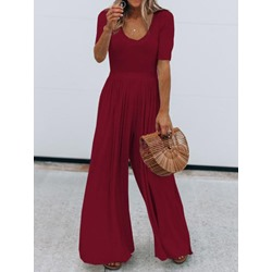 Pleated Western Plain Wide Legs Women's Jumpsuit