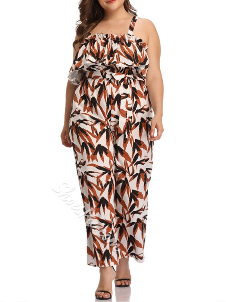 Print Plant Casual Wide Legs Women's Jumpsuit