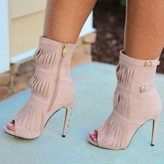 Shoespie Zipper Peep Toe Stiletto Heel Fringe Ankle Boots