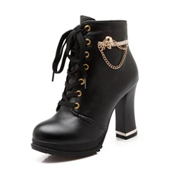 Shoespie Trendy Round Toe Plain Chunky Heel Lace-Up Front Casual Boots