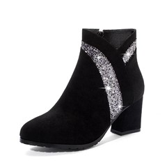 Shoespie Stylish Color Block Round Toe Chunky Heel Casual Boots