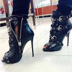 Shoespie Black Peep Toe Stiletto Heel Buckle Strap Zipper Ankle Boots