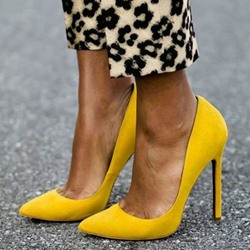 Shoespie Sexy Yellow Pointed Toe Stiletto Heels