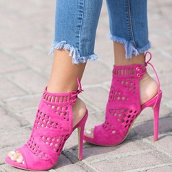 Shoespie Rose Hollow Lace Up Stiletto Heel Peep Toe Pumps