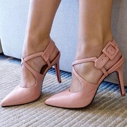 Shoespie Pink Buckle Strap Pointed Toe Stiletto Heels