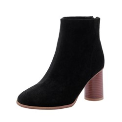 Shoespie Sexy Back Zip Chunky Heel Plain Zipper Boots