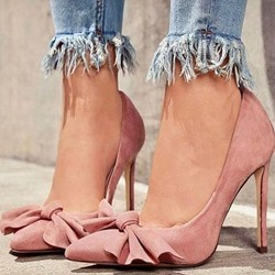 Shoespie Stylish Pink Bow Slip-On Stiletto Heels